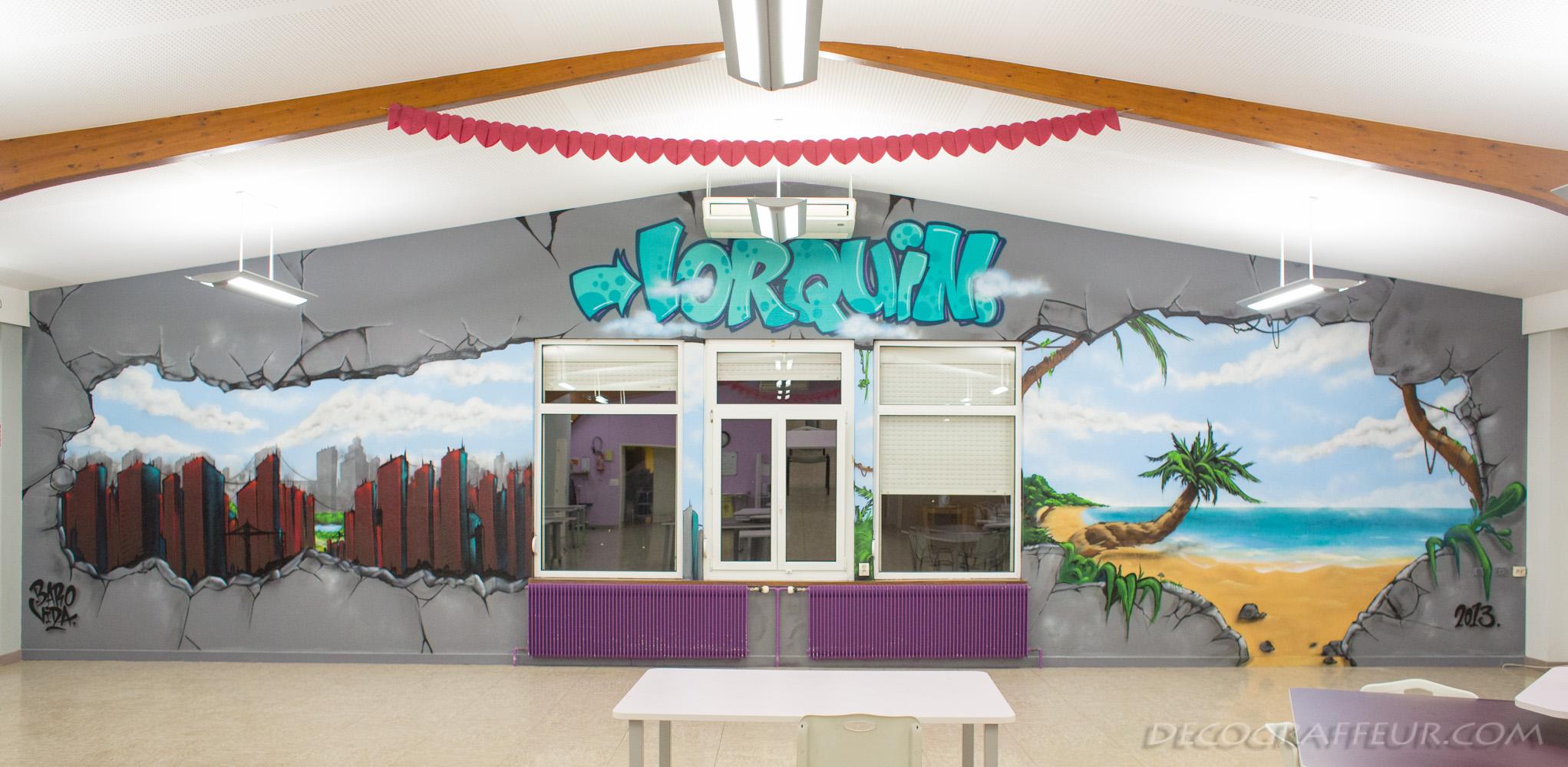 Trompe loeil graffiti lorraine hopital lorquin