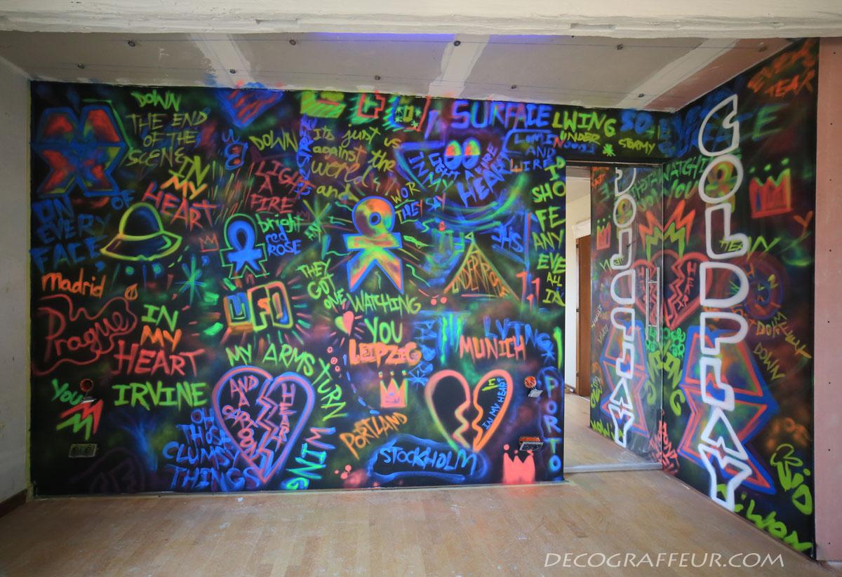 Peinture Tag Pour Chambre mur coldplay live chambre