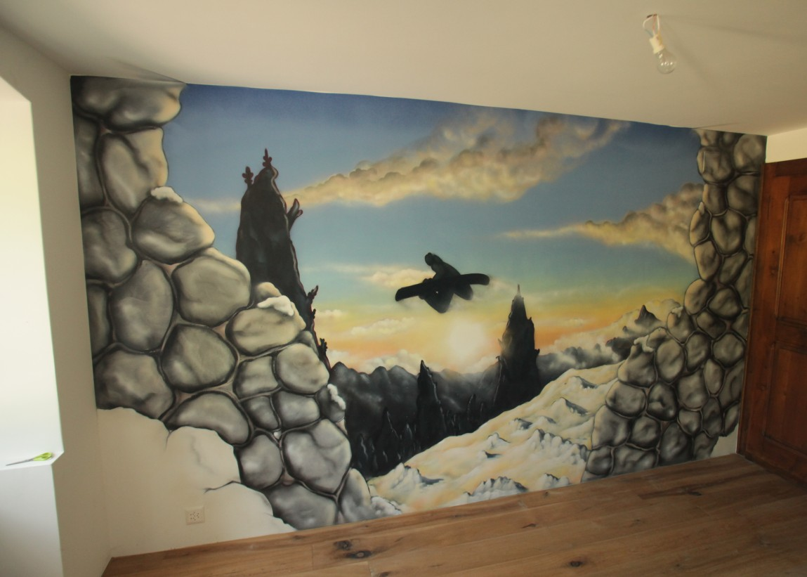 Chambre graffiti snowboard - Trompe l oeil chambre ...